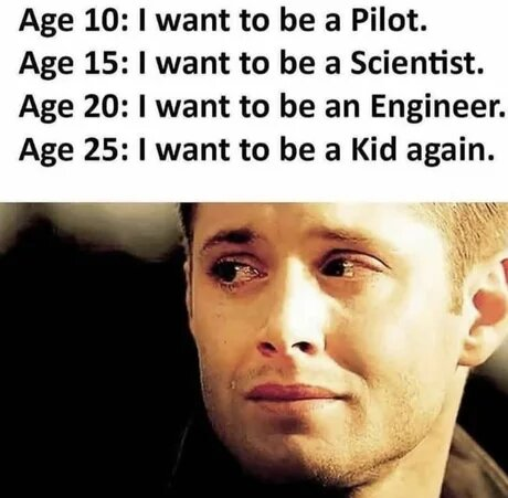 Age 10: I want to be a Pilot.Age 15:1 want to be a Scientist.Age 20:1 want to be an Engineer.Age 25:1 want to be a Kid again.