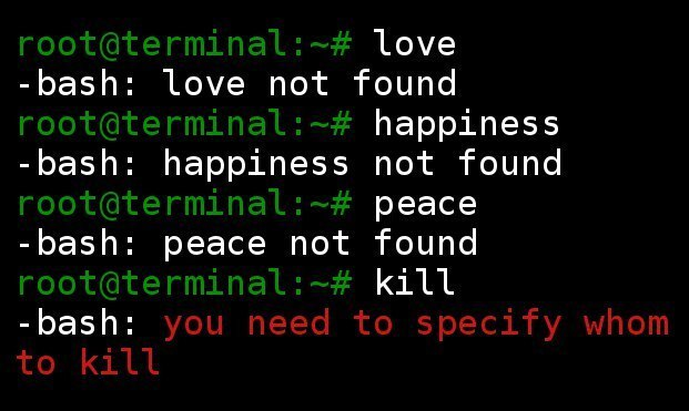 root@terminal:~# love -bash: love not found root@aterminal:~# happiness -bash: happiness not found root@terminalpeace -bash: peace not found root@aterminal: ~# kill -bash: you need to specify whom to kill