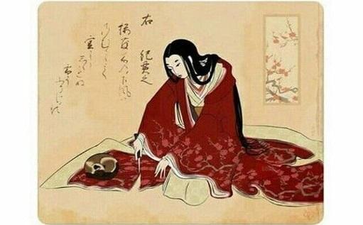 Старинная японская гравюра «Женщина срезает часть кимоно чтобы не разбудить кота»