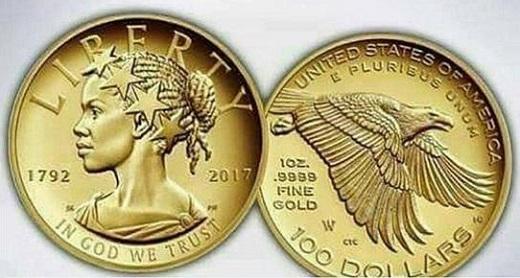 Внешний вид золотой моменты достоинством в $100, на одной из сторон которой впервые изображён профиль афроамериканки. Выпуск моменты приурочен к 225-летию двора, основанного в 1792 году решением американского Конгресса.