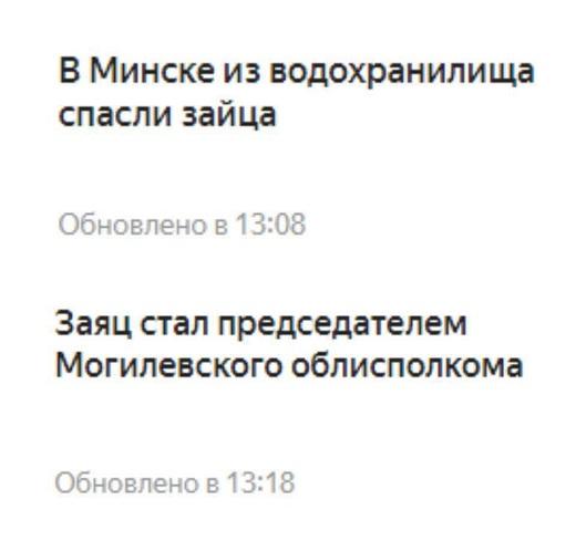 Новости: В Минске из водохранилища спасли зайца. | Заяц стал председателем Могилевского облисполкома